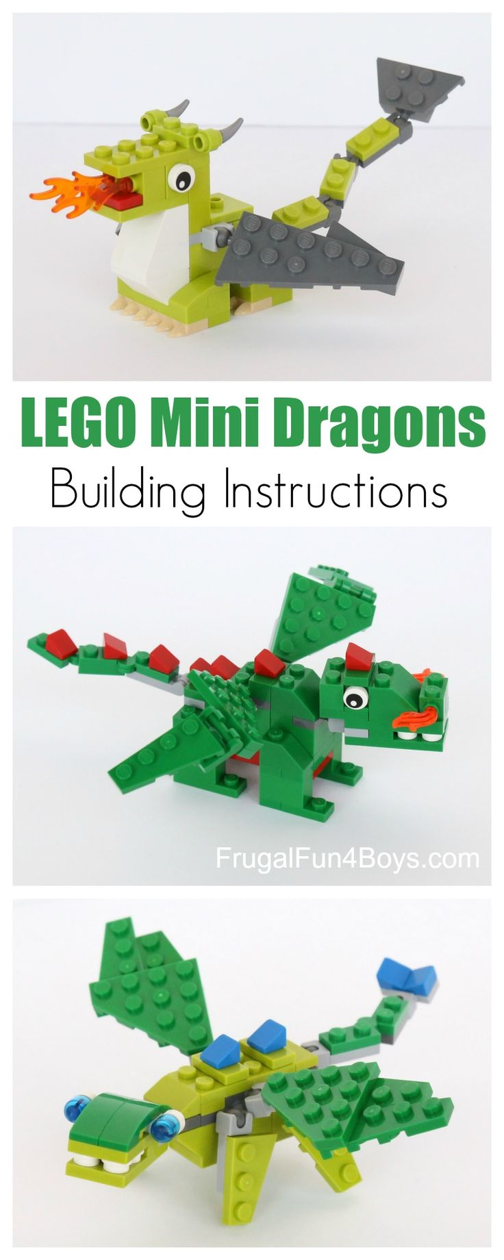 Build some LEGO Mini Dragons – instructions below!  We've got a couple of fire breathing dragons and then a lizard type dragon. Cute and fierce!   After you finish them, build a whole scene with a dragon lair and knights on a quest to seek the treasure – at the risk of their lives! We …