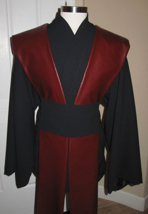 Star Wars black Jedi wool tunic,sash,4 pcs 100% wool gabardine with poly lining,burgundy pleather tabards on Etsy, $399.00