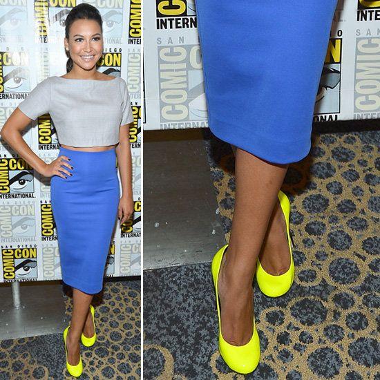 Naya Rivera Wearing Neon-Yellow Pumps