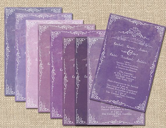 Purple Wedding Invitations for Autumn Weddings / Rustic Wedding Invites in Aubergine Eggplant Lavender Lilac Plum Amethyst Violet / PRINTED