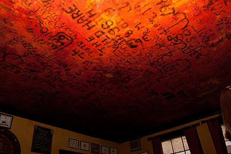 During World War II, U.S. and British airmen would leave notes on the ceiling of the Eagle Pub  using lighters, candles, and lipstick.
