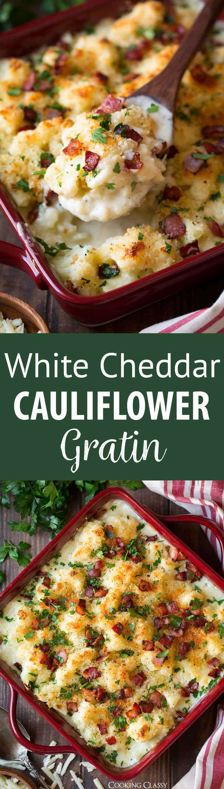 White Cheddar Cauliflower Gratin - Cauliflower coated with cheesy sauce, covered with Panko and bacon