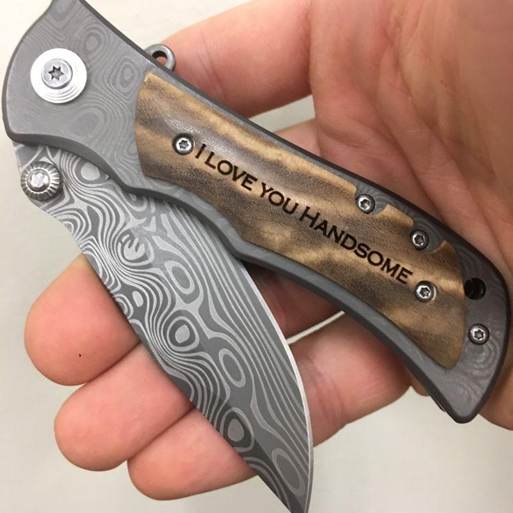 I love you handsome engraved hunting pocket knife, custom folding knife, pocket knife for hunting, gift for hunter, outdoorsman gift, anniversary gift for men, gift for fisherman