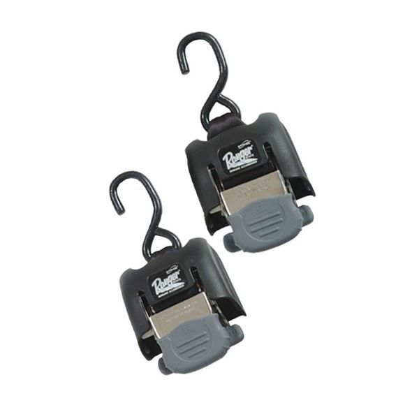 """Ranger Boats - From the makers of the original """"Ranger Boats Boat Buckle"""". This buckle is stronger than before, rated at 3000 lbs. capacity per pair, and features """"surgrip"""" rubber-coated handle and release lever and """"one-touch"""" automatic web release for true one hand operation. Buckle has a 43"""" reach and a non-corrosive stainless steel power spring. Patented, patents pending. This set does not include mounting hardware. Mounting hardware needed as follows. ..."""