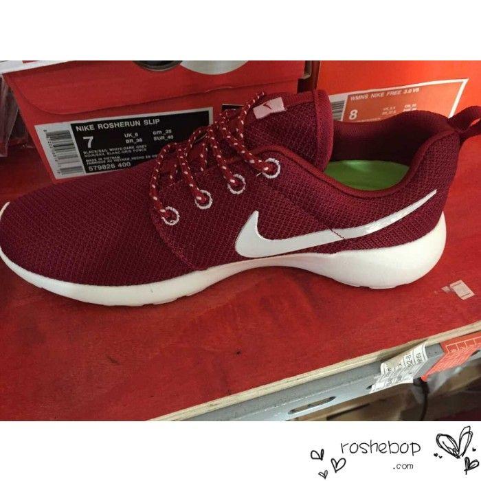 0433c4118625 ... promo code for nike roshe run mens mesh laced trainers burgundy 8b042  8aa0a