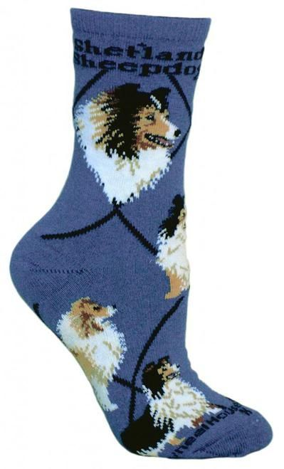 Shetland Sheepdog Dog Blue Cotton Ladies Socks