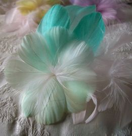 Feather Flowers Mint Green & Peacock Green Hibiscus Flower