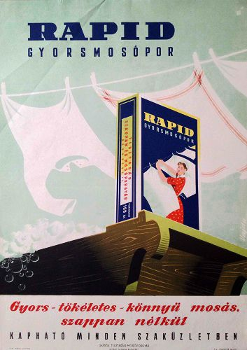 Rapid washing powder: Quick - perfect - easy washing, without soap (Vajda Lajos, 1960's - 70 x 50 cm)  36 600 forint | $150 at Budapest Poster Gallery's Shop