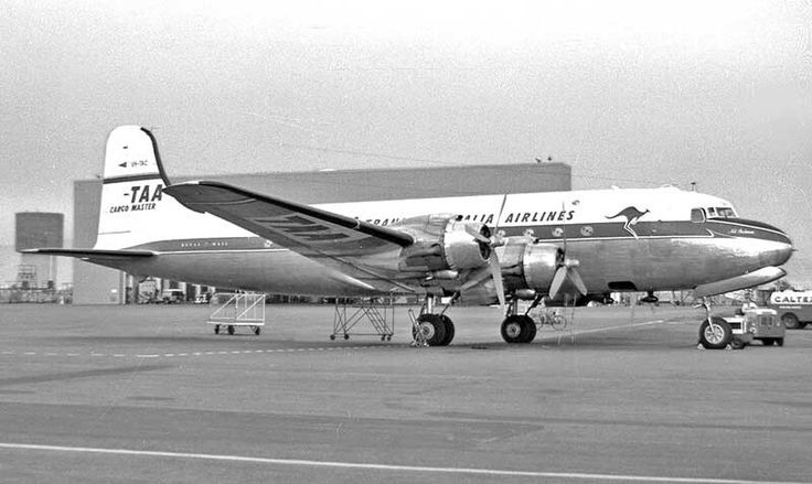 Trans Australia Airlines Douglas DC-4 Cargomaster VH-TAC at Adelaide in May 1962. Image Geoff Goodall