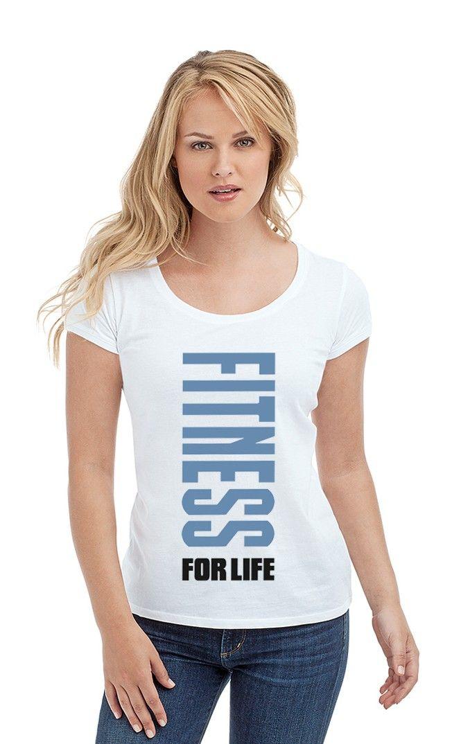 Футболка FITNESS FOR LIFE. Женские футболки прикольные с надписями и принтами.