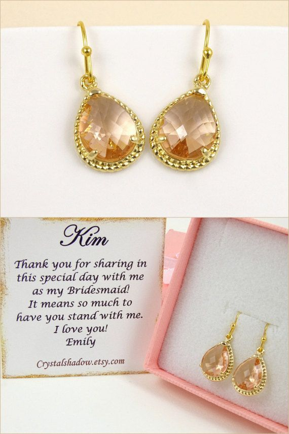 Peach Earrings Dangle Earrings Gold Drop Earrings Bridesmaid Gift for Maid of Honor Gift Bridal Jewelry Gift for Women Wedding Gift