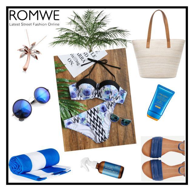 """""""New romwe contest bikini-set"""" by tlb0318 ❤ liked on Polyvore featuring Chico's, Allurez, Shiseido and Surfer Girl"""