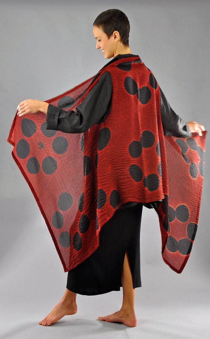Red and Black Bubble Silk Willow Vest by Michael Kane (Silk Vest) | Artful Home