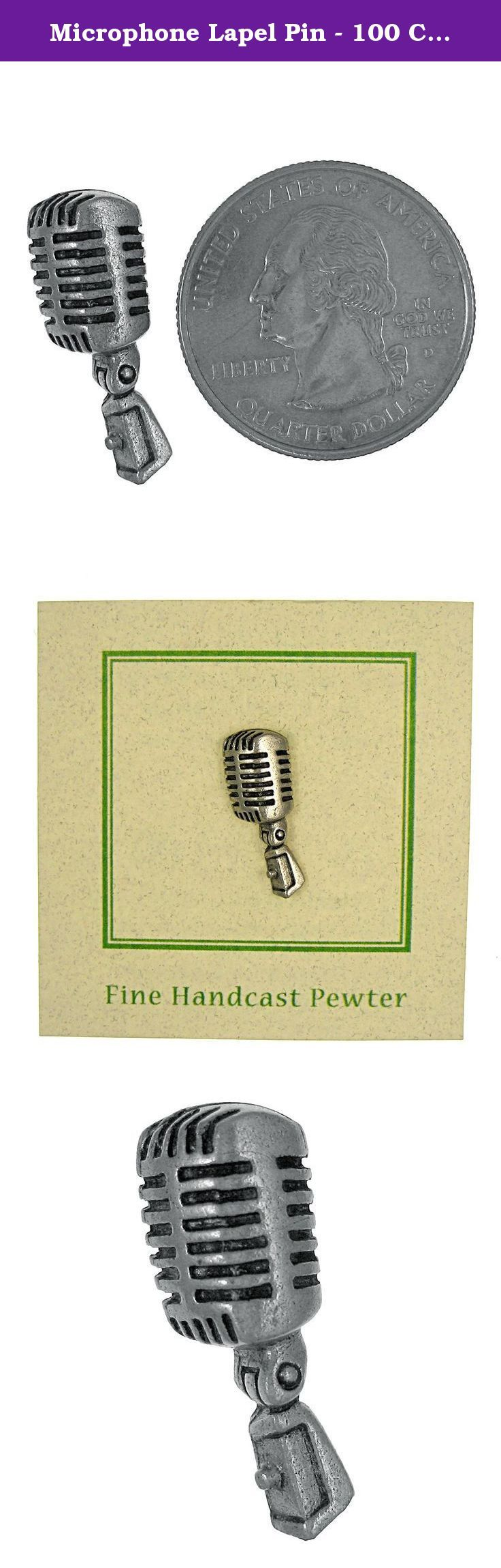 Microphone Lapel Pin - 100 Count. A microphone is a device for converting acoustic power into electric power that has essentially similar wave characteristics. Be heard with our microphone lapel pin. Handcast in solid, lead-free pewter, each of our pins is an original three dimensional sculpture signed by the artist, Jim Clift. Individually packaged on one of our signature presentation cards, our pins arrive ready for gift giving! Handcrafted in our studio in Coventry, RI, our pins are…