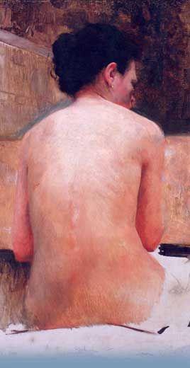 Eliseu Visconti ~ Desnudo Feminino de Costas (detalle).  nació en Italia, 30 de julio de 1866 - Río de Janeiro, Brasil, 15 de octubre de 1944)