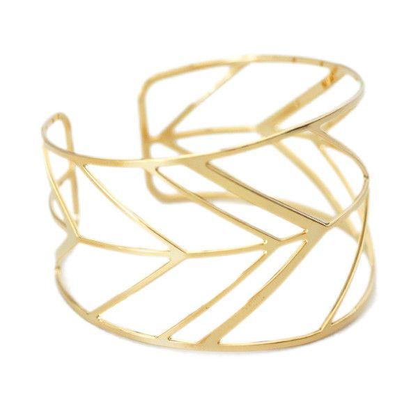 Chevron Cuff #chevron #cuff #gold #jewelry