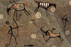 Cave art showing goats being hunted - #goatvet