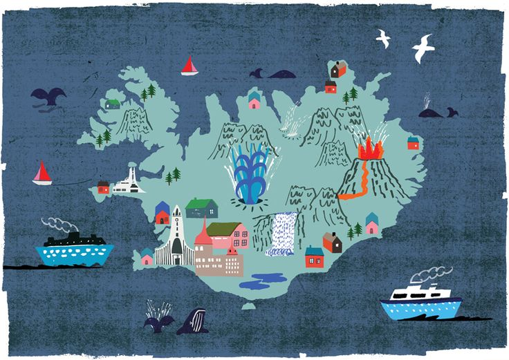 Stephen Smith - Illustrated map of Iceland featuring tourist attractions close to Reykjavik by Neasden Control Centre