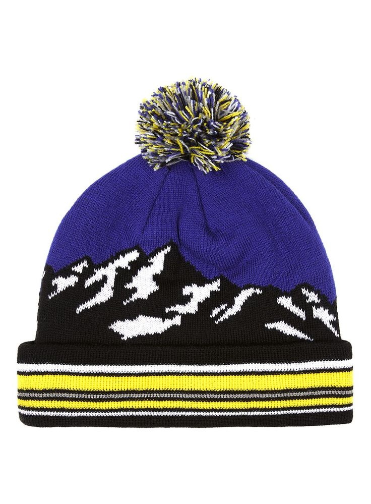 Blue and Yellow Mountain Landscape Bobble Beanie Hat - New This Week - New In - TOPMAN EUROPE