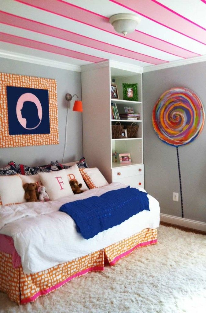 Pink stripes ceiling kidsroom teen bedroom decorating - Pink and white striped wallpaper bedroom ...