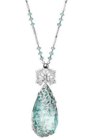 Cartier's new fine jewellery collection gallery - Vogue Australia/Platinum necklace set with aquamarine, pearl and diamonds.