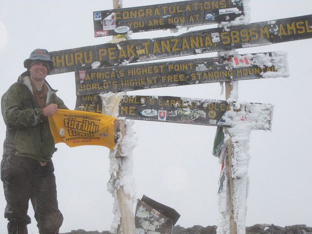 The Terrible Towel at the highest point in Africa