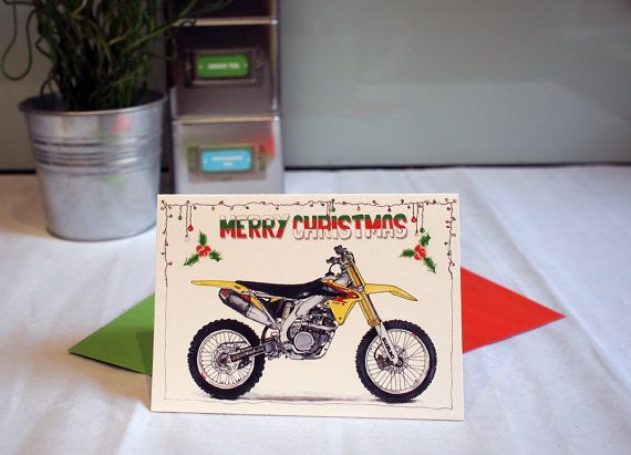 Motorcycle Chistmas Card  Suzuki Dirt Bike  A6  6 x by DailyBikers