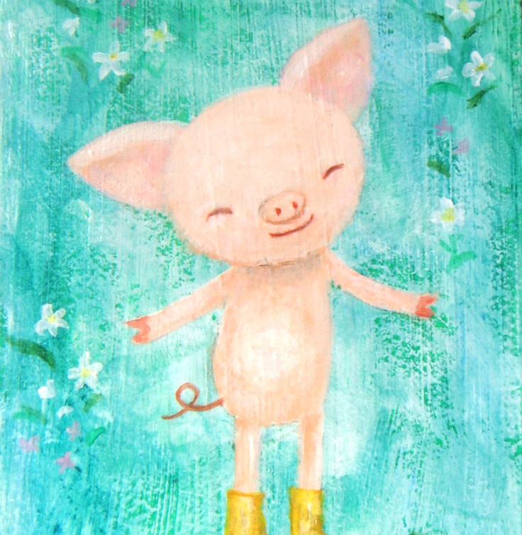 17 best images about pig illu on pinterest watercolor for Cute watercolor paintings