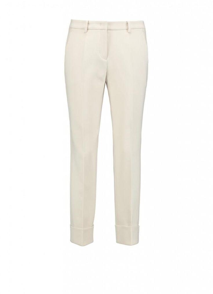 Beige broek met slanke pasvorm | Claudia Sträter