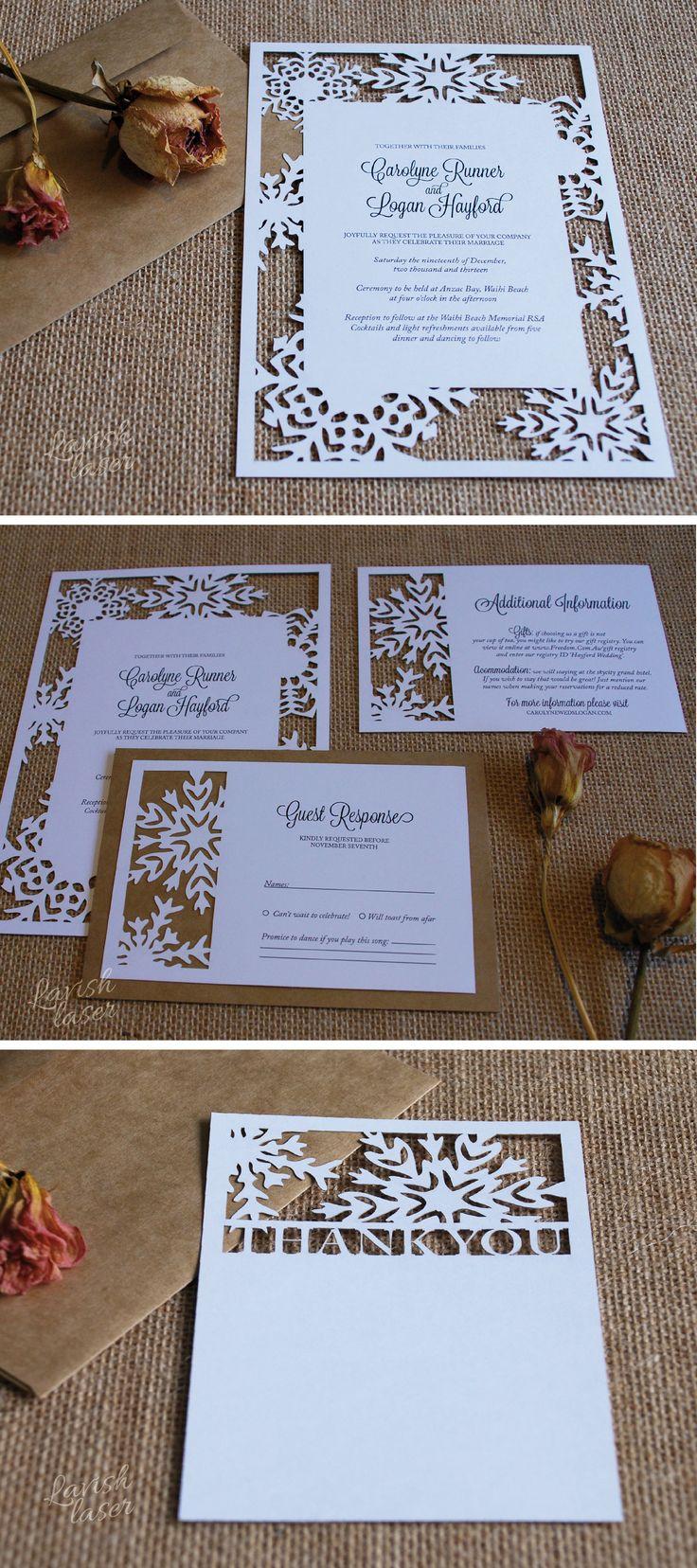 Snowflake Invitation Suite by NZ Studio Lavish Laser Design. https://www.etsy.com/nz/listing/199028591/snowflake-laser-cut-wedding-invitation?ref=shop_home_active_17