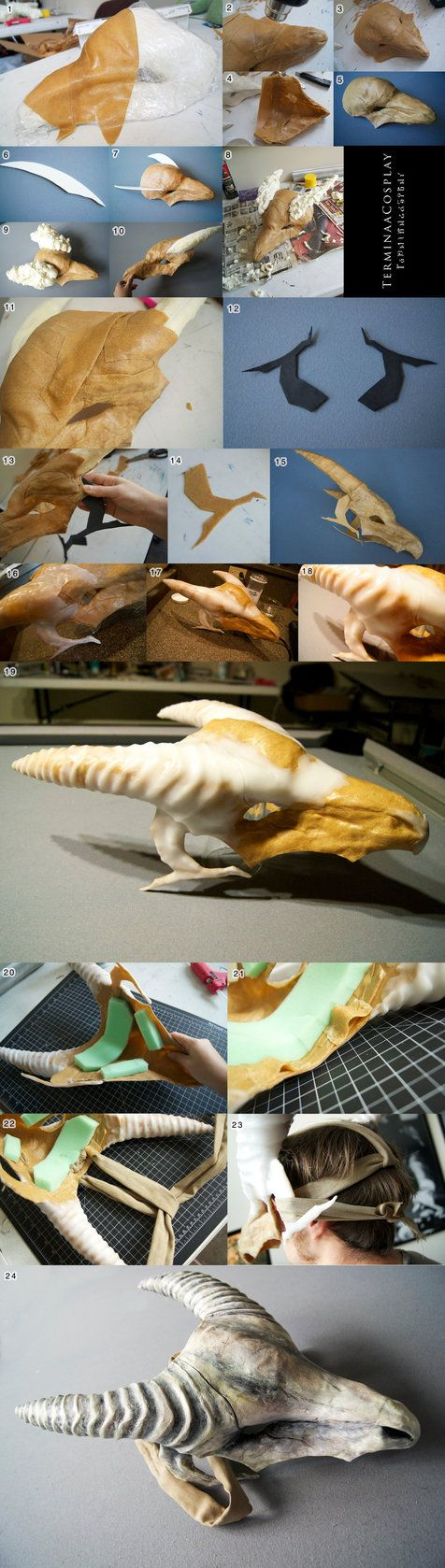Marowak Skull Mask Tutorial- Worbla Scraps by TerminaCosplay; Awesome tutorial for working with Worbla and Friendly Plastic in general - detailed instructions
