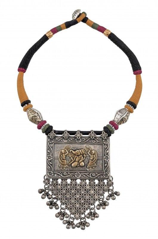Amrapali: Ganpati floral framed necklace