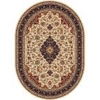 Sensation Beige 6 ft. 7 in. x 9 ft. 6 in. Oval Traditional Area Rug