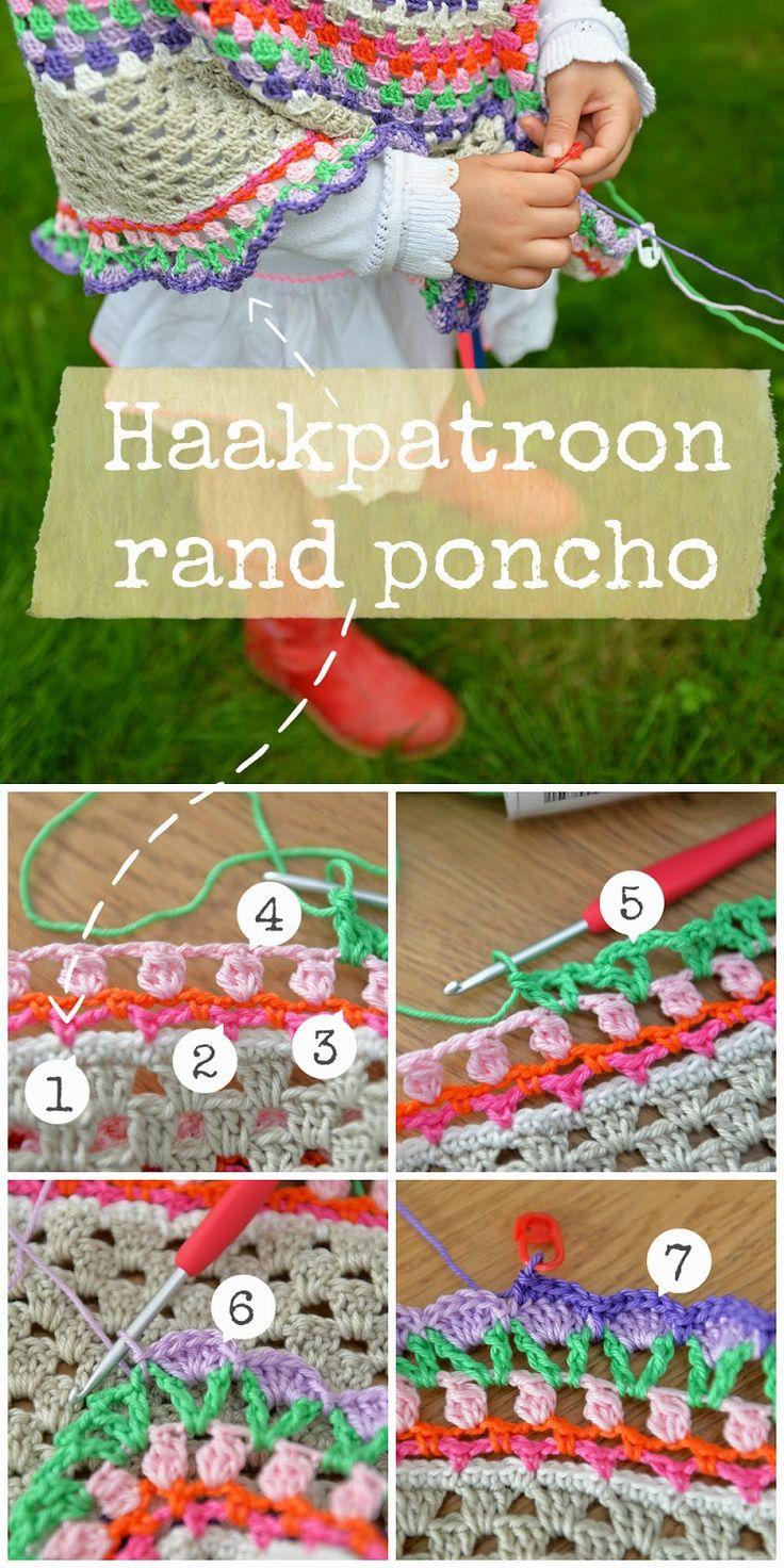Haakpatroon rand kinderponcho Crochet pattern
