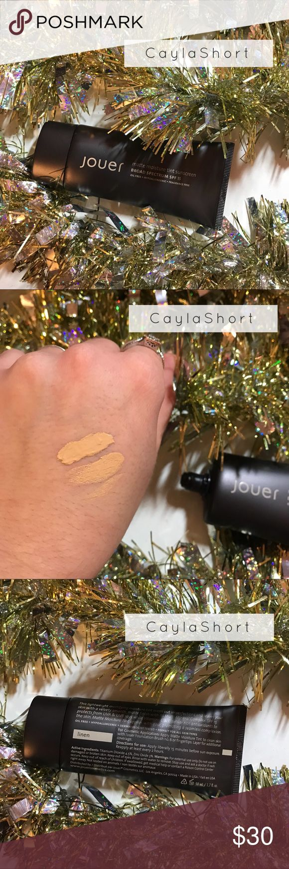 """Jouer Matte Moisture Tint This is a lightweight matte moisture tint that evens out imperfections and leaves your skin with a velvety smooth, matte finish. It has sunscreen in it. This color is too yellow for me. It's in the shade """"Linen"""" & I have only used about three drops of it. It's very full & in excellent condition. Jouer Makeup Foundation"""