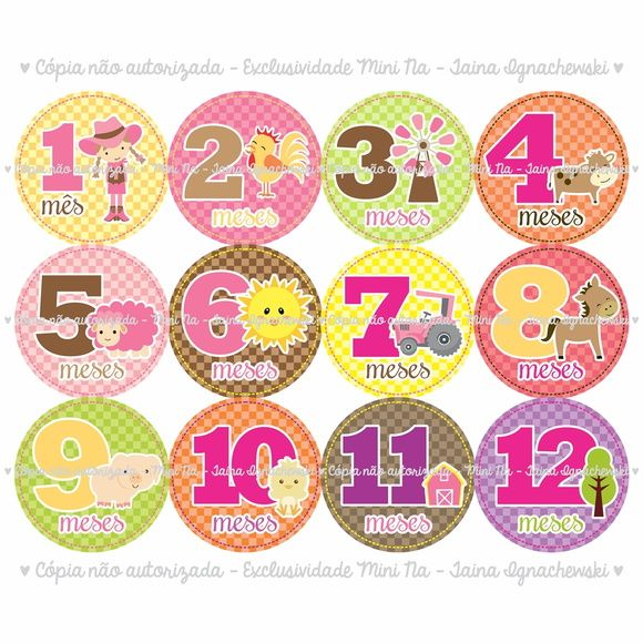 12 Adesivos Mesversário Mês a Mês