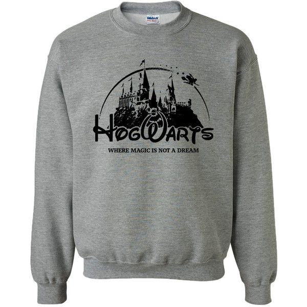 Hogwarts School Campus Funny Harry Potter Geek Fan Parody Unisex... ($26) ❤ liked on Polyvore featuring tops, hoodies, sweatshirts, hogwarts, christmas sweatshirts, christmas tops and unisex tops