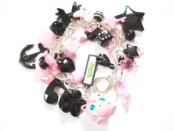 Black and Pink Pokemon Jigglypuff Bracelet by moonblastdesigns