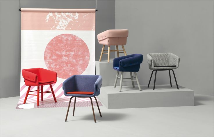 The collar chair in different fabrics.