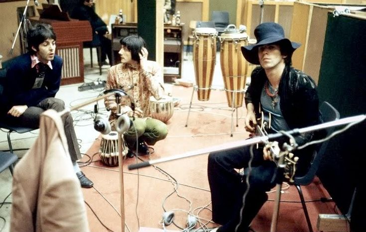 """12th June 1967. Paul with Keith Richards and Nicky Hopkins at Decca Studio for the recording of the Stones """"We Love You""""."""