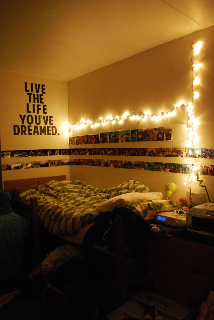 dorm lighting ideas. love the cornered pictures and lights dorm lighting ideas