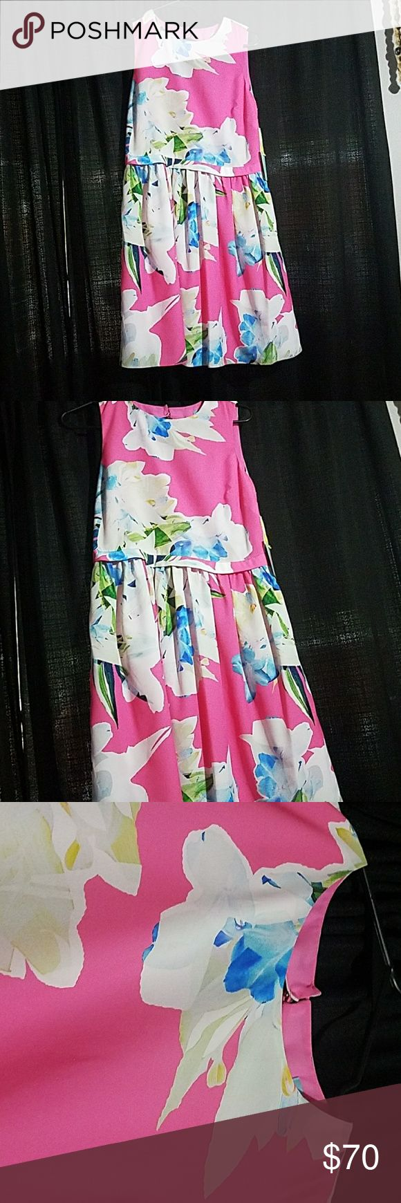 "Cece  dress NWT size 0. Floral print Net. Size 0 cece dress. Floral . Zips on the side. Two silver buttons on the back side above the round hole. 100% polyester lining and shell.i am 5'2"" and the dress comes to the bottom of my knees cece Dresses"