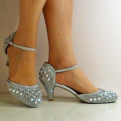 Nuevas damas Brillante Diamante Correa De Tobillo Fiesta Mediados Tribunal Tacón Bajo Zapato Talla 428