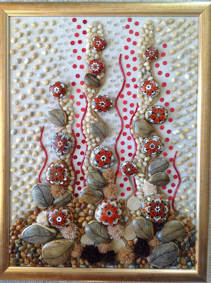Piros mező 30/40 cm kavics-textil kép