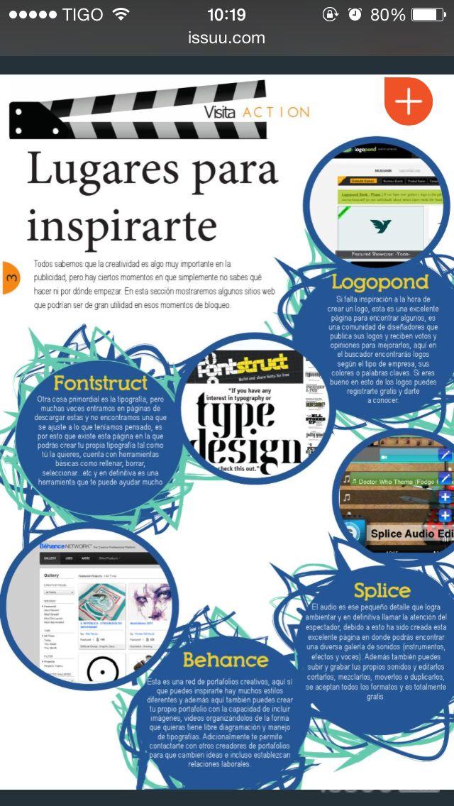 Lugares para inspirarte. Action magazine. #creatividad #publicidad #diseño #revista #digital
