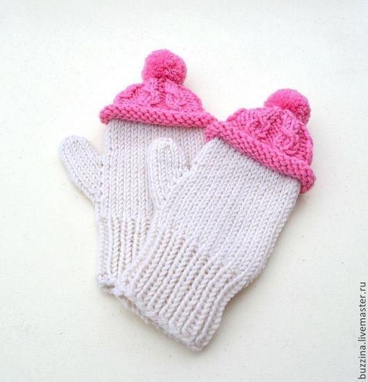 Варежки, варежки для детей, варежки для ребенка,детские варежки, варежки для девочки, варежки в шапочках, варежки шапочках с помпоном, подарок для девочки, подарок для ребенка, подарок для девушки.