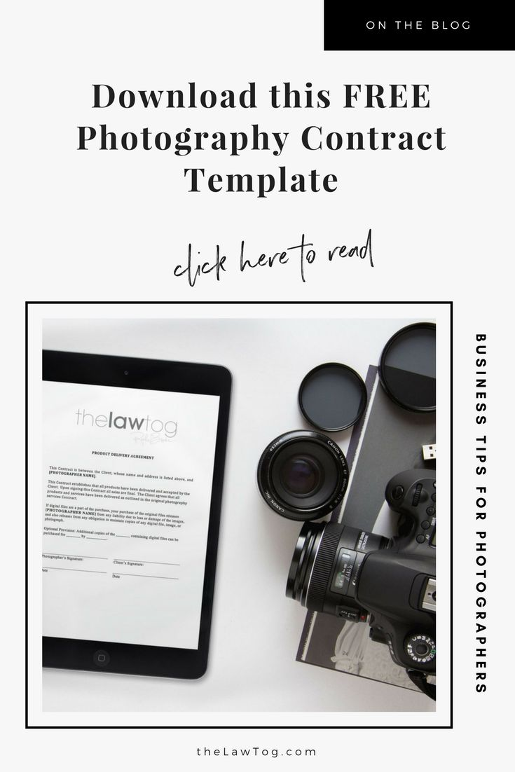Download this free photography contract template by https://www.thelawtog.com