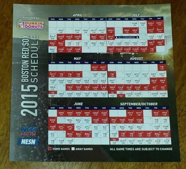2015 Boston Red Sox schedule magnetic Opening Day SGA Fenway Park magnet 4 13 15 #BostonRedSox
