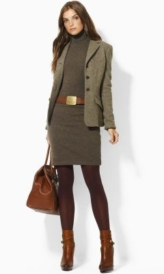 classic Ralph Lauren- cashmere, tweed & leather trimmings