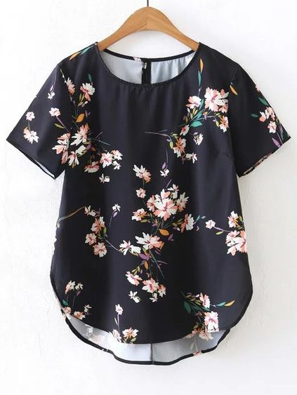 Blusa asimétrica de mangas cortas con estampado de flor